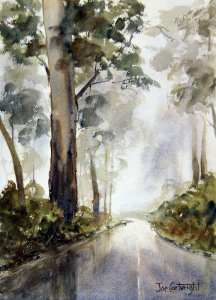 Painting reflections on road Mt Hotham, Victoria. Finished watercolor painting.