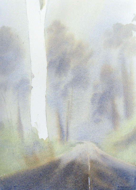 initial watercolor under painting of mist and fog