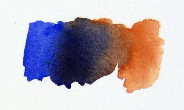 French Ultramarine mixed with Burnt Sienna gives a strong dark color