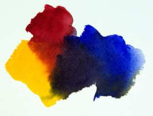 Color mixing formula.Mixing a Blue, Red and Yellow will give you a dull grey to black color depending on proportions of each color mixed