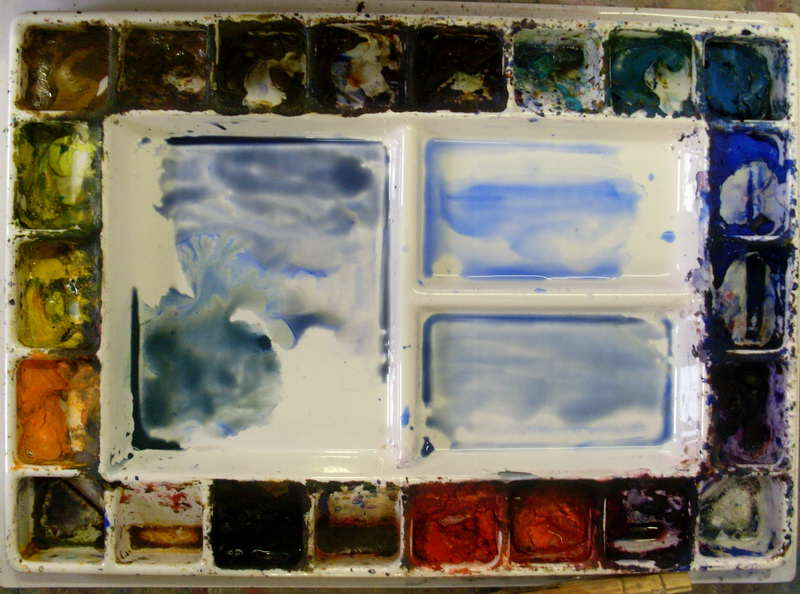 painting the initial watercolor wash for the water and sky