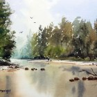 Finished watercolor painting Grose River, Yarramundi, NSW