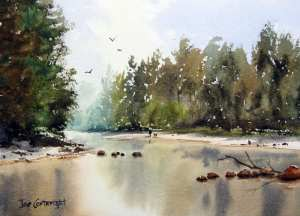 Finished watercolor painting Grose River, Yarramundi, NSW