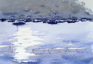 Painting the distant sail boats with watercolor