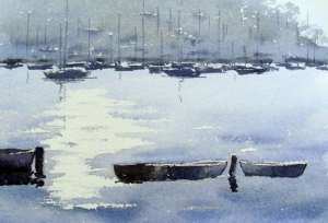 Painting the foreground simple row boats with watercolors