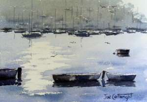 Simple watercolor painting of boats and water
