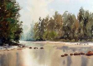 Watercolor painting of reflections of trees on river surface. Color dropped in on wet river area.