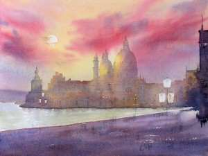 Painting the buildings of Santa Maria Della Salute with a watercolor glaze