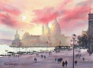 Venice Sunset lights and completed watercolor painting demonstration