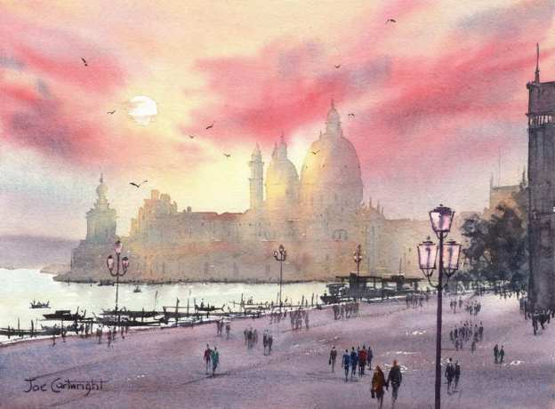 Venice Sunset lights completed watercolor painting