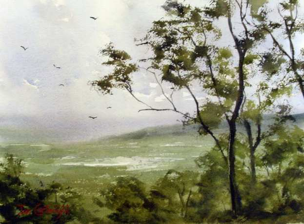 Watercolor Landscape Painting Demonstration of Mountain Valley Scene