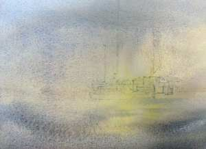 Initial watercolor wash for misty scene