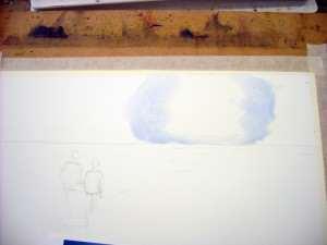 Paint cobalt blue watercolor mix away from sun wet on wet for soft edges