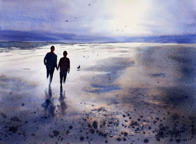 Watercolor painting of sunset reflections of people on wet sandy beach with pebbles