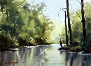 Nepean River shallows reflections water color painting by Joe Cartwright