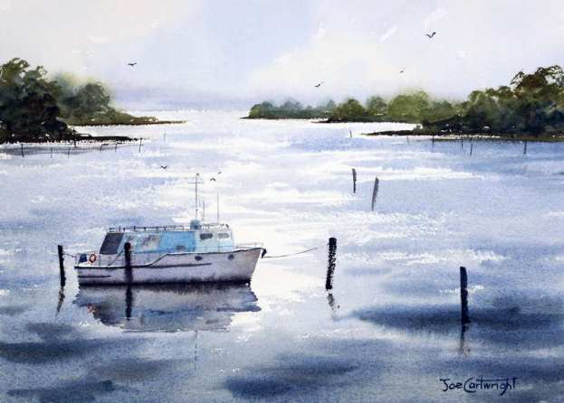 Watercolor Paintng Tea Gardens sunrise with house boat on Myall River