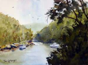 Berowra Waters plein air watercolor painting by Joe Cartwright