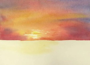 Completed warm red sky of watercolor painting of a dramatic sunset