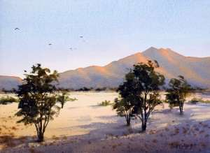 West MacDonnell Ranges at sunset watercolor painting