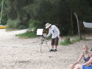 The problem with the original easel was I had to lean over too much, and the palette was too low.Bending over my old plein air easel hard on back