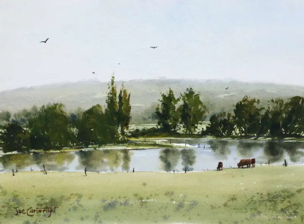 Plein air painting of pond, hills and reflections