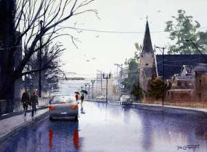 Watercolor gallery of street scenes by Joe Cartwright