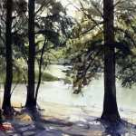 Hawkesbury River at Yarramundi plein air watercolor painting by Joe Cartwright