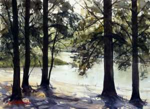 Hawkesbury River at Yarramundi plein air watercolor painting by Joe Cartwright