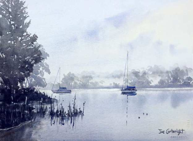 Foggy morning on Clarence River in Grafton watercolor painting
