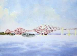 First step in panting the bridge structure with watercolor
