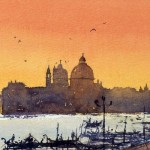 Venice golden sunset watercolor paintings
