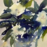 White flowers in glass vase watercolor paintings