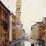 Venetian canal watercolor painting by Joe Cartwright