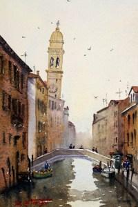 Venetian canal watercolor painting by Joe Cartwright