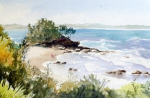 Original watercolor seascape painting by Margaret Ng