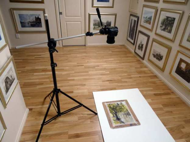Camera set up showing how to photograph watercolor paintings