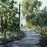 Plein air watercolor painting by Joe Cartwright title Windsor Lane