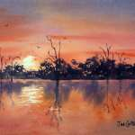 Lake Bonney Sunset, watercolor painting for sale, AUD$300