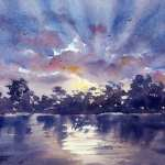 "Watercolor painting for sale title ""Maclean, Blue Sunset"" AUD$300"