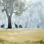 "For sale, watercolor painting titled - Misty Morning Visitors at Front door 14.5"" x 10.5"" (37cm x 27cm) AUD$300"