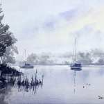 "Watercolor painting for sale titled "" Misty Morning on Clarence River"" price $300"