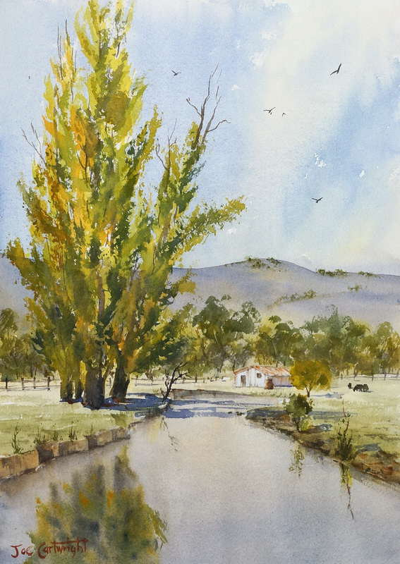 Autumn Poplars watercolor painting by Joe Cartwright