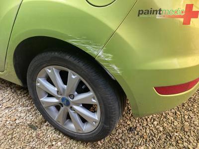 Damage to Ford Fiesta before Paintmedic repair
