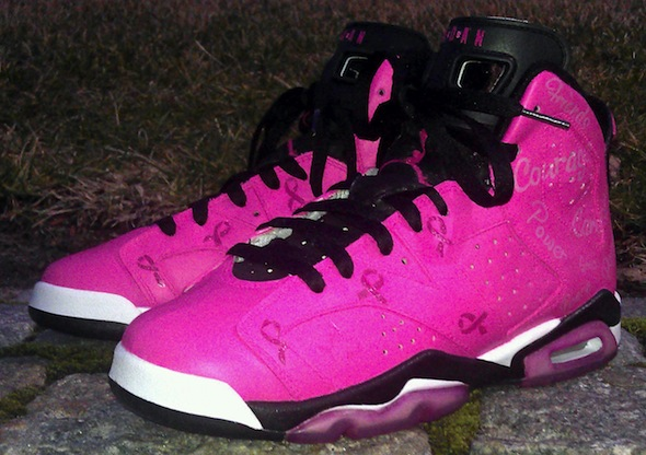 pink breast cancer air jordan vi shoes da prince 3 Breast Cancer Awareness Air Jordan VI Shoes by Da Prince Customs