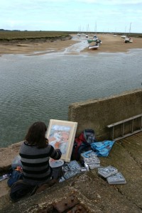 Artist Katie Falcon pastels at Paint Out Wells 2015