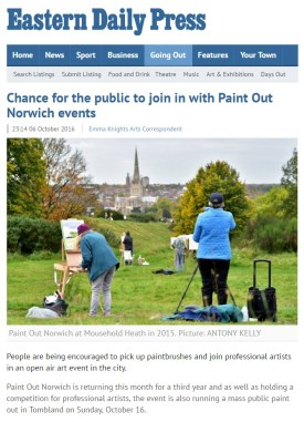 Chance for the public to join in with Paint Out Norwich events, EDP 2016-10-6