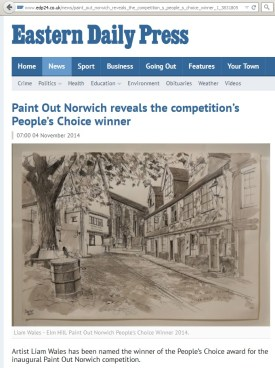 Paint Out Norwich Peoples Choice, Liam Wales, EDP, 4 Nov 2014