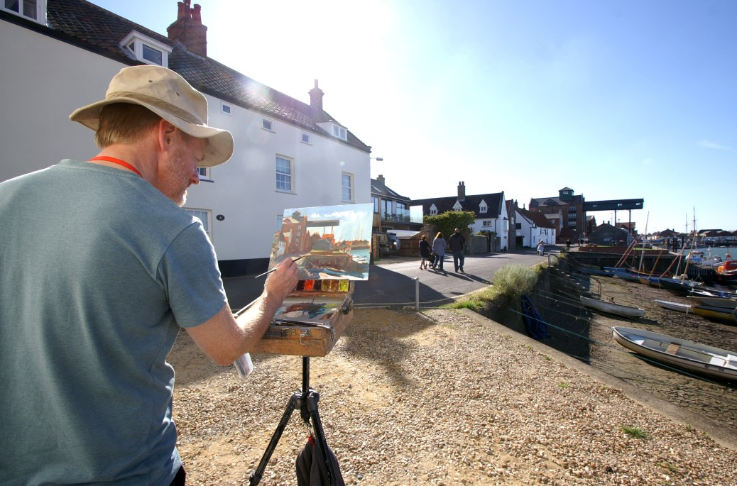 Artist Tony Robinson at Paint Out Wells 2015