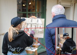 Haidee-Jo Summers with inset Mo Teeuw, Paint Out 2014 at Elm Hill, Norwich