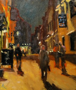 Artist Michael Richardson - Pottergate Nocturne 12x10 Oil on Board Paint Out Norwich 2015 photo by Mark Ivan Benfield